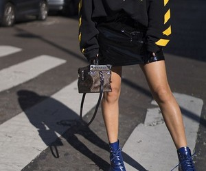 black hoodies, black leather skirts, and louis vuitton purse image