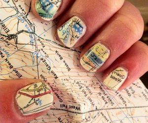 nails, map, and nail art image