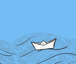 blue, lockscreen, and paper boat image