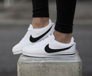 black, cortez, and nike image