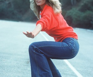 farrah fawcett, 70s, and red image