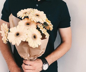 flowers, beautiful, and boy image