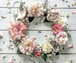 pink and wreath of flowers image