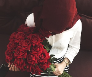 bff, hijab, and rose image