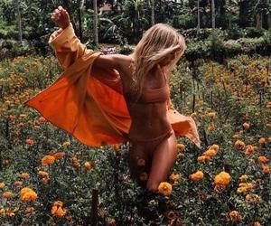 flowers, girl, and orange image