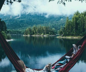 relax, nature, and lake image