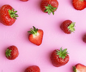wallpaper, pink, and strawberry image