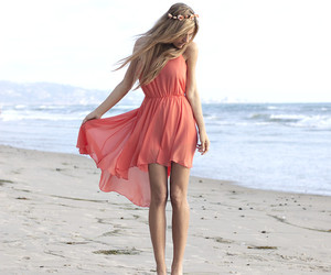 beach, summer time, and dress image