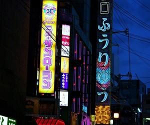 city, japan, and neon image