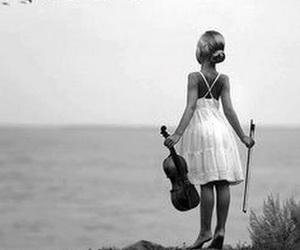 pretty girl, sea, and violin image
