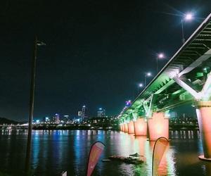 bridge, korea, and night image