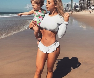 tammy hembrow, baby, and beach image