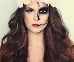Halloween, makeup, and flowers image