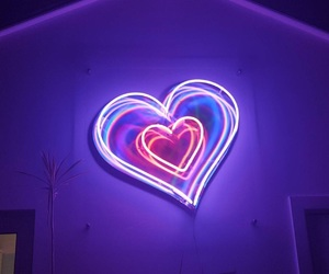 purple, glow, and heart image