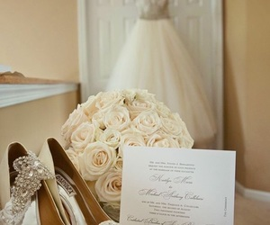 wedding, dress, and shoes image
