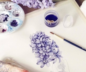 flower, painting, and purple image