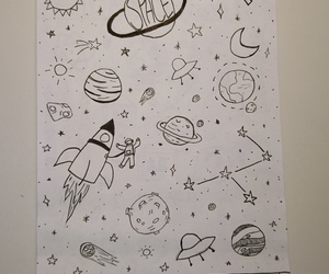 art, doodle, and planet image