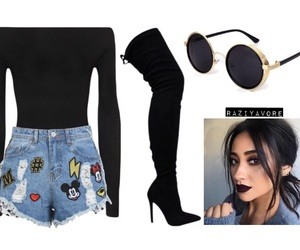 black, high boots, and Polyvore image