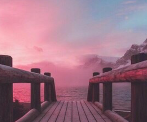 pink, sky, and bridge image