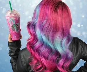 hair, pink, and starbucks image
