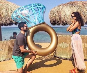 couple, ring, and beach image