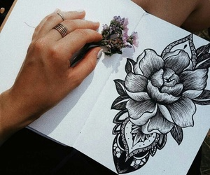blackandwhite, drawing, and flower image