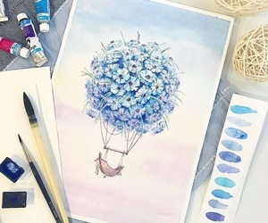 airballoon, blue, and flower image