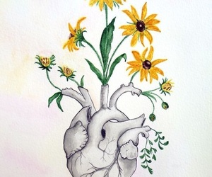 flower, heart, and flowerheart image
