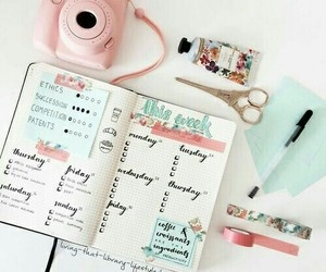 school, study, and pink image