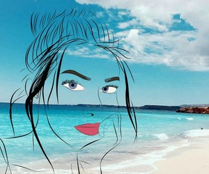 beach, blue, and draw image
