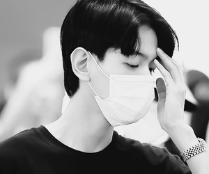 black and white, focus, and kpop image