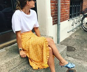 outfit, sandals, and skirt image