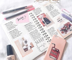 journal, pink, and stationery image