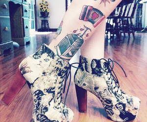 tattoo, shoes, and cat image