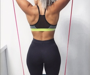 blonde, fitness, and outfit image