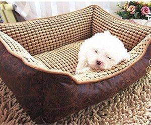 bed, pet bed, and sleeping dog image