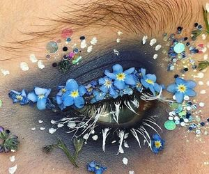 flowers, makeup, and blue image
