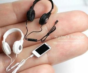 headphones, iphone, and miniature image
