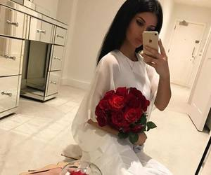 girl, red roses, and rose image