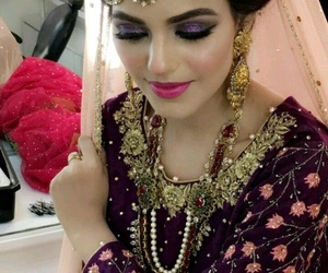 makeup, pakistani bride, and desi glam image