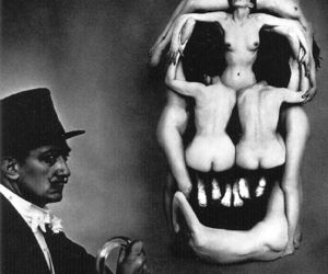 naked, salvador dali, and skull image