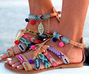 bohemian, colors, and sandals image