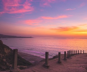 california, sea, and sunset image