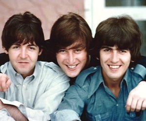 Paul McCartney, george harrison, and the beatles image