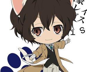 cat ears, osamu dazai, and chibi image