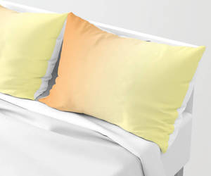 bedding, pillow case, and orange and yellow image