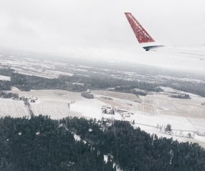 airplane, fly, and snow image