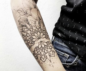 flower, girl, and linework image