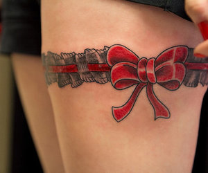 bow, red, and garter image