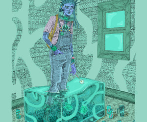 art, mint green, and illistration image